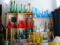 hand blown glass, bottl, glasses, colors, glass collect