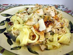 Grilled Chicken Piccata Pasta from Plain Chicken...mmhmm.