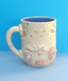 EVIL GENIUS Face Mug One of a Kind, artist signed, JD Cotton 14 oz Making Faces Pottery