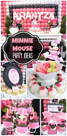 Minnie Mouse girl birthday party with a balloon backdrop, white chocolate strawberries and decorated caramel apples!  See more party ideas at CatchMyParty.com!