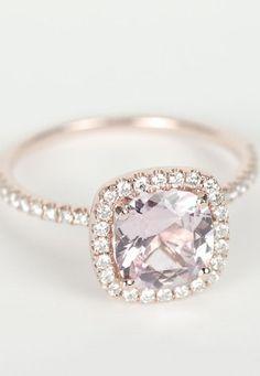Peach Pink Cushion Sapphire Diamond Halo Engagement Ring.