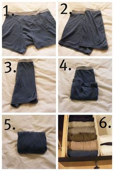 How-to's on folding clothes to fit in drawers properly.