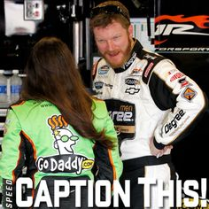 Check out this conversation between Dale Earnhardt, Jr. and Danica Patrick! What do you suppose they're discussing? Give us your best caption for this image! (Photo: Getty) nascar rule, fav nascar, nascar driver, nascar countri
