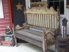 Awesome bench made from an old bed headboard.
