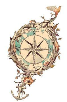Floreal Compass - Temporary tattoo
