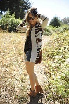 brown booties with a low heel + jean shorts + tank + southwest poncho