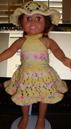 Ladyfingers - AG doll - Halter-Style Sundress with Lacy Skirt and Sun Bonnet