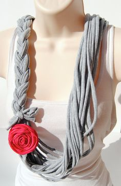 (but with yellow flower) Braided Grey TShirt Scarf with Pink Rose by CustomGiftCreations, $19.00