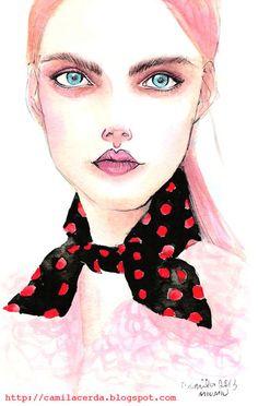 *Como siempre soñé*  Miu Miu SS 13  Watercolor, ink pen  Illustration byCamila Cerda