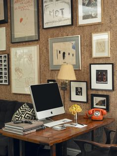 Miles Redd office spaces, orang, galleri, cork wall, gallery walls, office walls, desks, corks, home offices