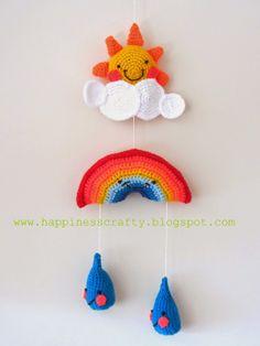 Crochet Baby Mobile ~ Free Amigurumi Pattern  http://happinesscrafty.blogspot.gr/2014/04/crochet-baby-mobile-free-pattern.html  PDF Pattern here: http://www.instructables.com/files/orig/FTD/ETQJ/H006IWYS/FTDETQJH006IWYS.pdf