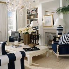 Navy living room / crisp and clean. I really like this for a living room!!