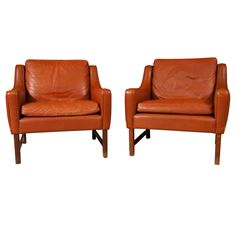 Pair of Brown Leather Armchairs