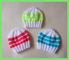 Bright Stripes Newborn Baby Hats Free pattern from Marianna's Lazy Daisy Days