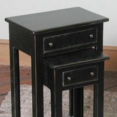 black distressed nesting table