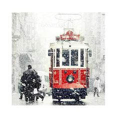 Wall decor  Tram photography SALE Winter  Photography  by gonulk, $30.00