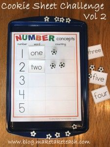 3 early numeracy activities to be used on a cookie sheet!  Great for literacy centers.  FREE sample templates. business cards, literacy centers, cooki sheet, printable templates, learning centers, math centers, number words, math activities, cookie sheet activities