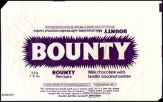 UK - Mars - Bounty - candy bar wrapper - 1970's by JasonLiebig, via Flickr
