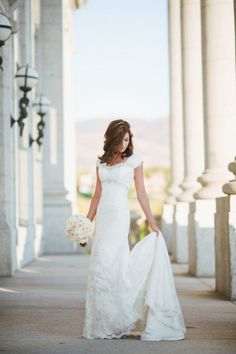 #wedding #dress #modest #sleeves #lace #beads #temple #long #lds #mormon