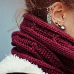 Multiple earrings ear #piercings #helix, first, second, and third #lobe #cartilage: studs and leaf. #gold #brass Burgundy red knitted woollen scarf shawl #autumn #fall #fashion #fallingforfall #jewellery #jewelry #beauty #lulus #holidaywear