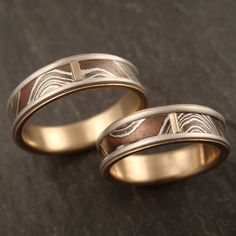 new mokume wave wedding band set | Flickr - Photo Sharing!