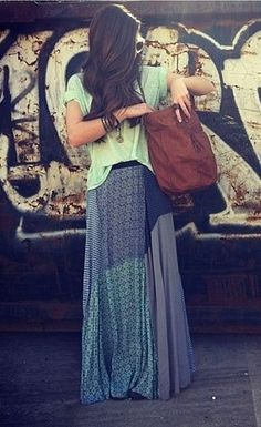 Boho chic carefree patchwork maxi skirt with modern hippie oversized purse for  new Bohemian allure. For MORE Gypsy style trends FOLLOW http://www.pinterest.com/happygolicky/the-best-boho-chic-fashion-bohemian-jewelry-gypsy-/