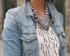 Layered necklaces with denim jacket. Found on pennypincherfashion.com