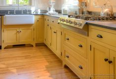 yellow with wood and dark counters/hardware