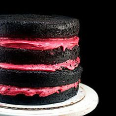 One Bowl Dark Chocolate Cake with the best fresh raspberry buttercream you'll ever taste - NO food color!