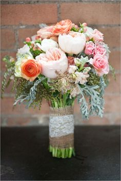 pink and peach wedding bouquet by Fleurs De France @KD Eustaquio Hastings, this would look great with the blue and gold!!