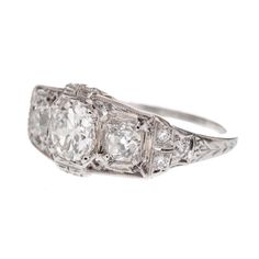 Three Stone Art Deco Diamond Platinum Ring FOURTANÉ