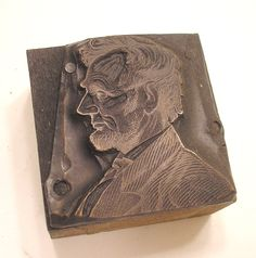 Abraham Lincoln Antique Letterpress Printing Block