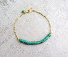 Turquoise blue gold chain bracelet, simple dainty beaded charm bracelet, December Birthstone bracelet on Etsy, $19.00