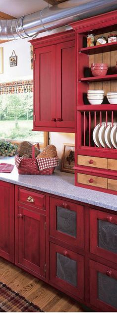 red kitchen, red cabinet, color, countri kitchen, kitchen cabinets red, farmhouse kitchen cabinets, farmhouse kitchens, cabinet red, dream kitchens