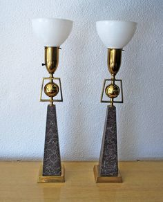 Mid Century Pair of Ball and Obelisk Lamps by junk2funkbiz on Etsy, $600.00