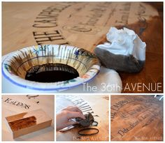 craft, wine crates, kitchen tables, diy tutorial, table redo, wood tables, wine boxes, stencil, stain