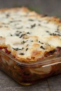 Super Veggie Lasagna takes only minutes to prepare and is family favorite! #skinnyms #cleaneating #healthyfamilymeals #recipes