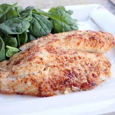 Parmesan Tilapia... been making this for years and my family ♥'s it! Simple, delicious. (I bake at 400 for about 20 mins and broil briefly to brown the top at the end)