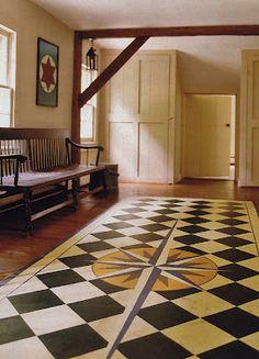 paint floor, floorcloth, idea, floor design, floor cloth, house interiors, compass, saltbox houses, painted floors