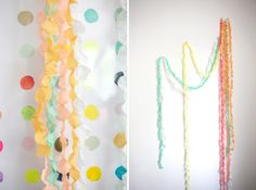DIY Paper Dot Garlands by ohhappyday: Lovely decorations for pennies. #Decorations #Party #Paper_Garlands #ohhappyday