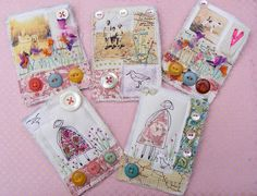 Lovely fabric ATCs. These are actually fabric brooches by hens teeth on flickr but would make pretty ATCs.