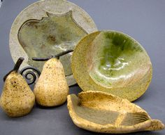 Love pears?  Lovely pear salt and pepper shakers.  Each of these pieces would go well on my table or counter!