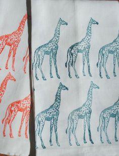 Leannegraeff - Tea Towel - Giraffe - Teal - 100% Linen