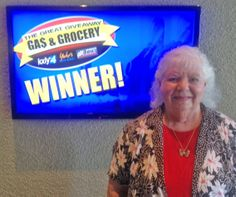 Barbara Bailly won $100 in The Great Gas & Grocery Giveaway from KXLY4, Divine's & Yokes.