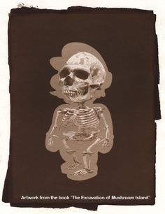 artist logan, mushroom, artists, supermario, game, skeleton, super mario, design, island