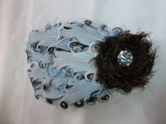 light blue, brown feather, blue flower, shabbi flower
