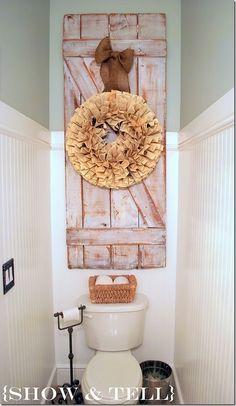 half baths, wall decor, barn doors, shutter, small bathrooms, wreath, old doors, powder rooms, old barns
