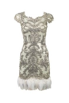 Bergdorf Goodman's Anniversary Collection: Marchesa's silk dress with goose-feather trim. I could do without the trim!