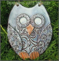 Hand made Owl Wall Hanging  Pottery Stoneware by DragonflyArts, $32.00