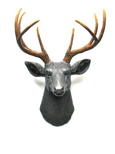 Faux Taxidermy Deerman the Deer Head Wall Mount Wall Decor Home Decor in charcoal grey with natural-looking antlers: Deerman the Deer Head on Etsy, $92.00